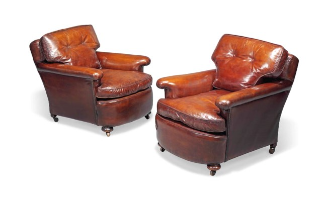 A PAIR OF LEATHER UPHOLSTERED