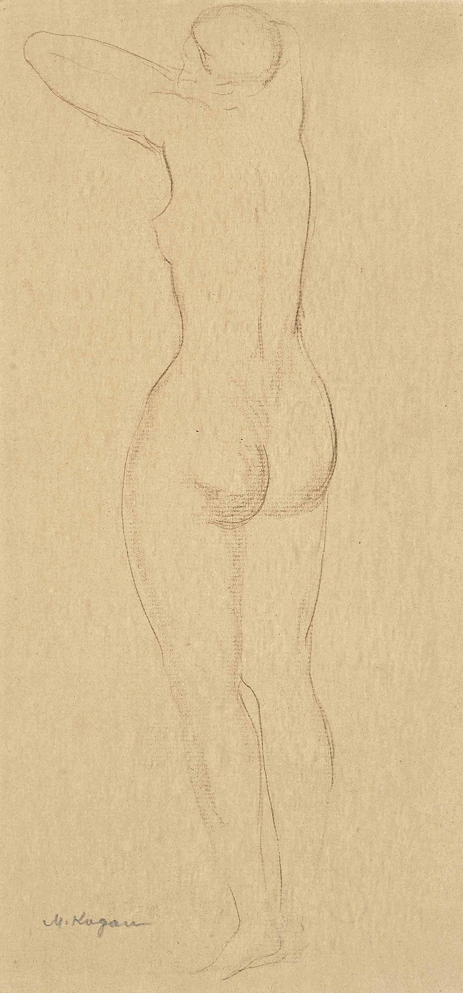 A pair of nude figure studies