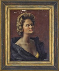 Portrait of Pauline Billie Graves (1924-1989), bust-length, in a gold evening dress and black evening coat