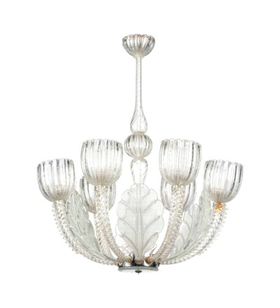 AN ITALIAN GLASS SIX LIGHT CHA