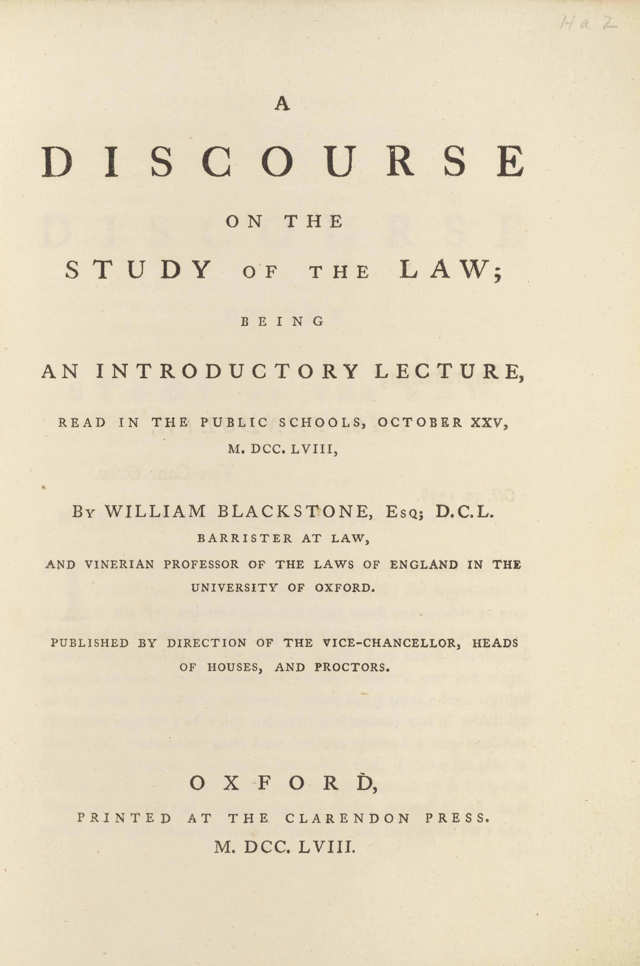 BLACKSTONE, William (1723-1780)  A Discourse on the Study of the Law