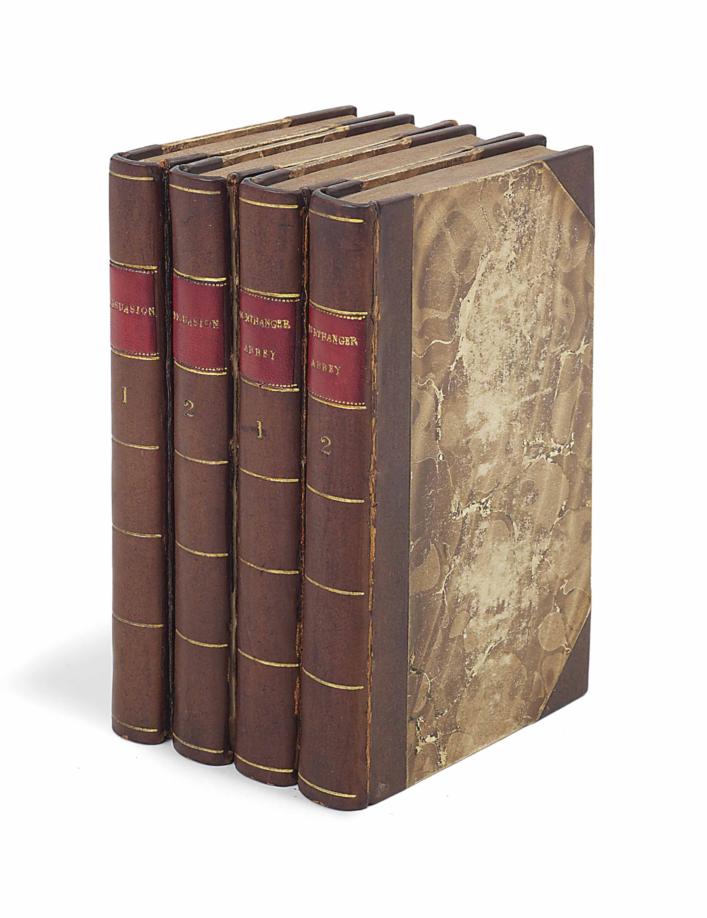 [AUSTEN, Jane (1775-1817).] Northanger Abbey: and Persuasion... With a Biographical Notice of the Author [by Henry Austen]. London: C. Rowarth [vols I-II], and T. Davison [vols III- IV] for John Murray, 1818 [but ca. 20 December 1817]. 4 volumes, 12° (169 x 100mm). Half-titles. (Some occasional light browning and spotting, without final blanks P7-8 in vol. IV as often.) Contemporary half calf, leather gilt spine labels, speckled edges (front cover of vol. I nearly detached, front joints cracked and restored in vol. III, extremities lightly rubbed). Provenance: Maria Cipriani (ownership inscription).