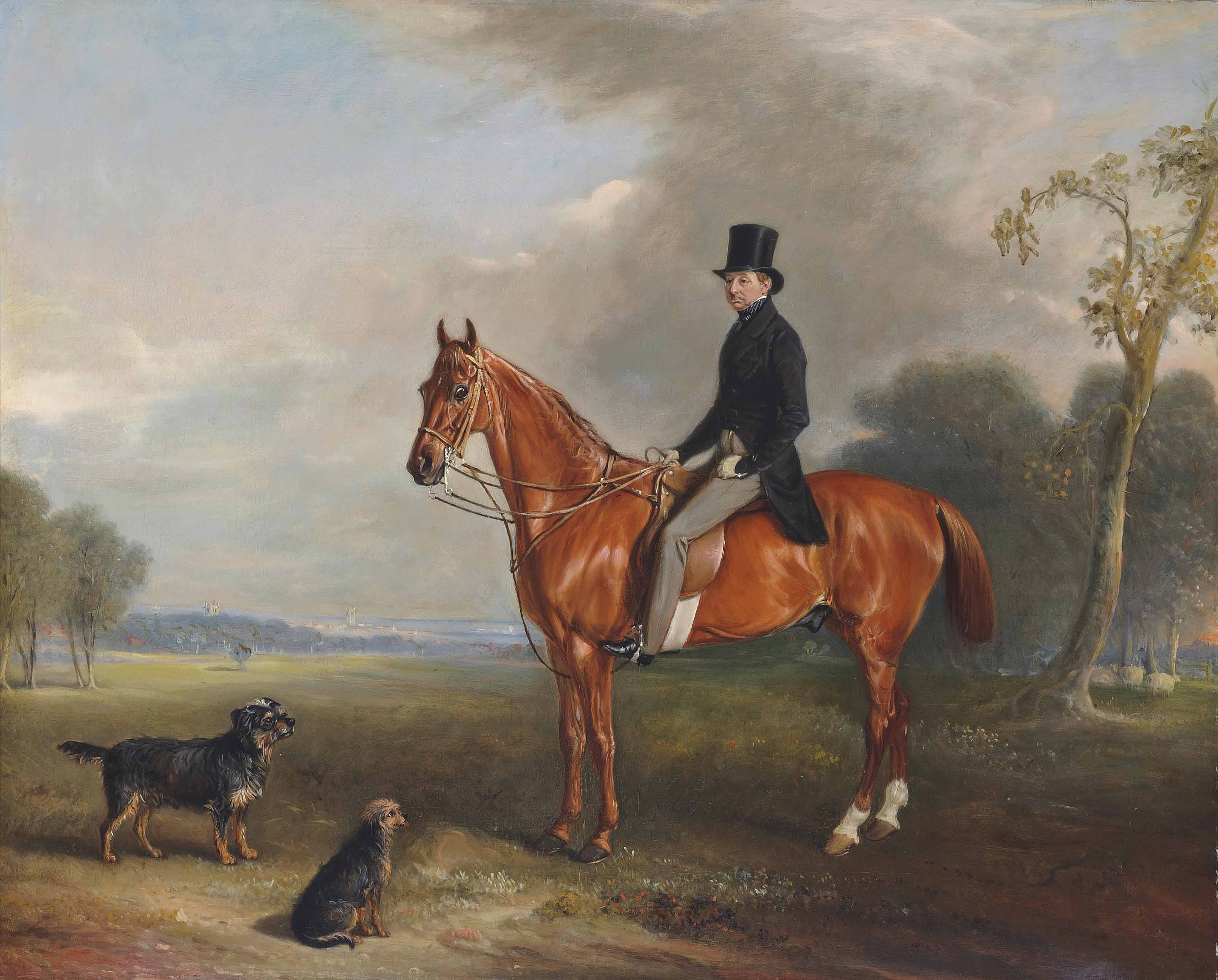 Sir Montague Welby, on a chestnut hunter, with terriers