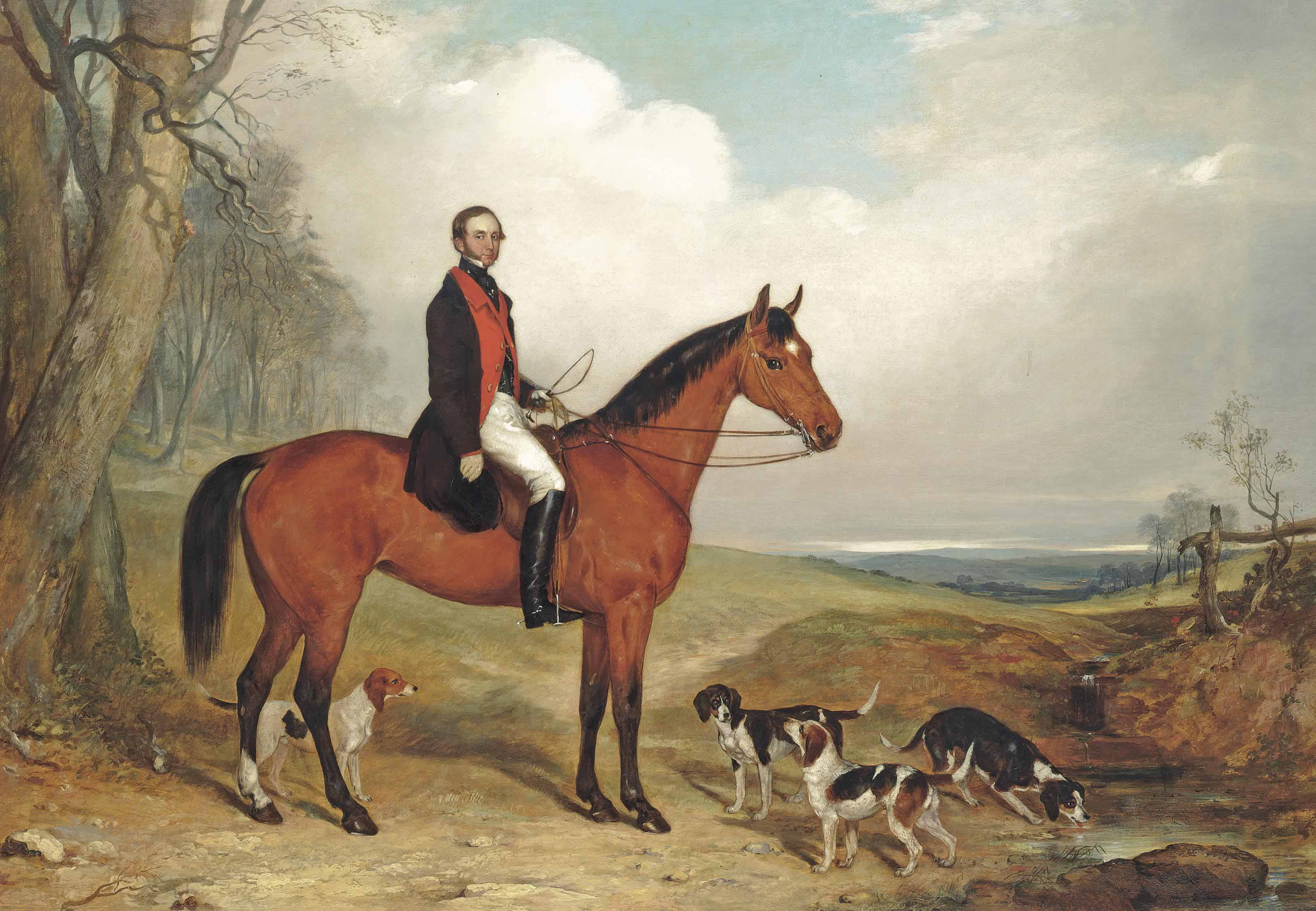 A gentleman on his favourite hunter, with beagles, in an extensive landscape