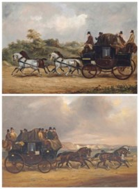 The Southampton to Weymouth coach on a country lane; and The Southampton to Weymouth coach on the coast road