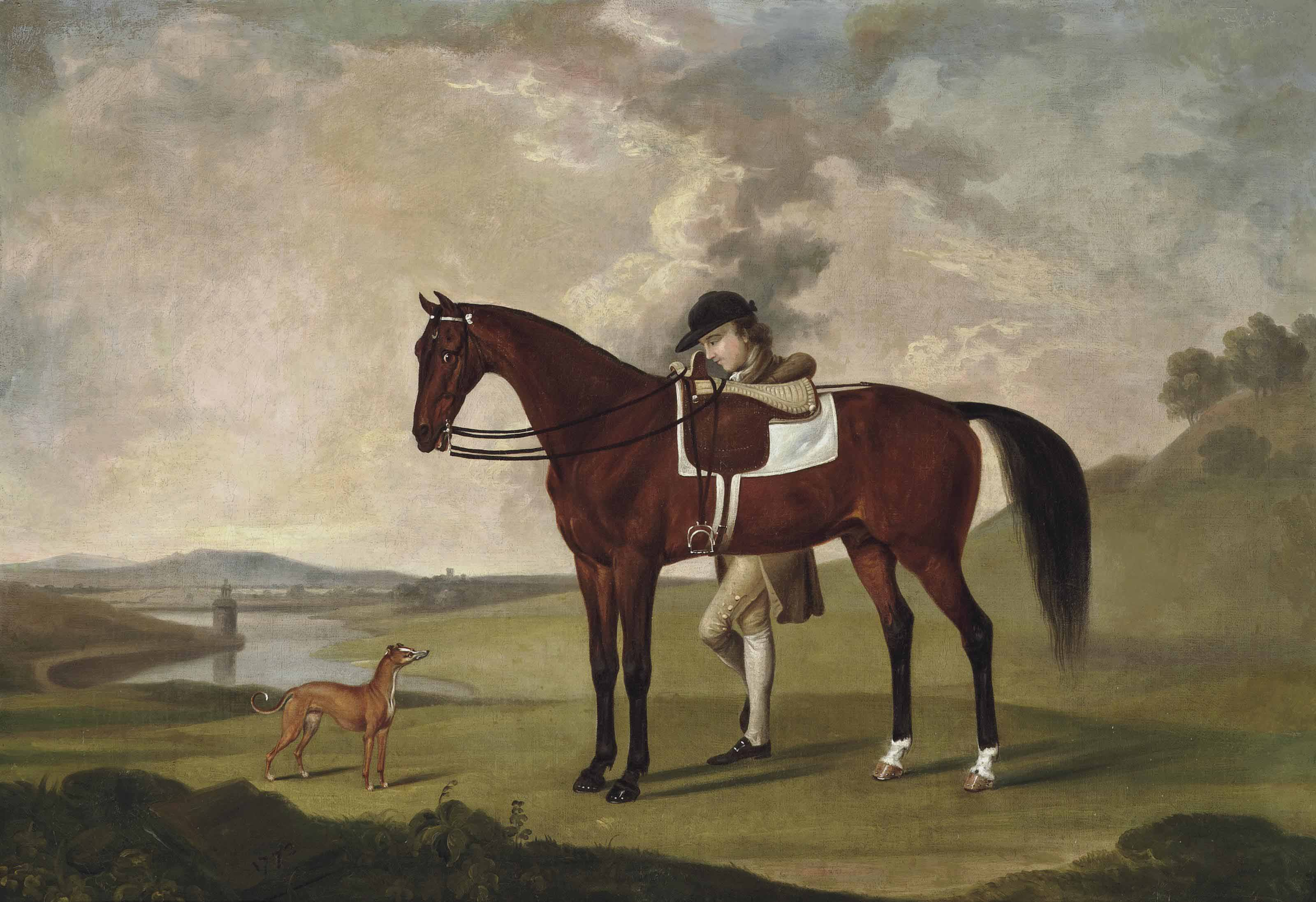 A groom with a saddled bay hunter and whippet, in an extensive landscape