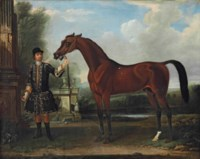 'Bay Bolton', held by a groom, in a parkland setting