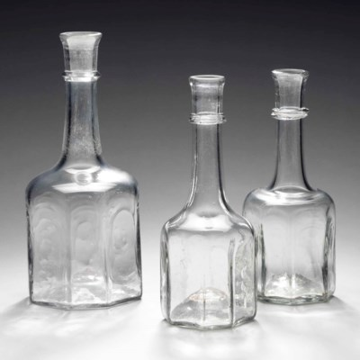 THREE ENGLISH MOULDED-GLASS CA