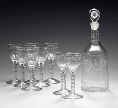 AN ENGLISH ENGRAVED GLASS DECA