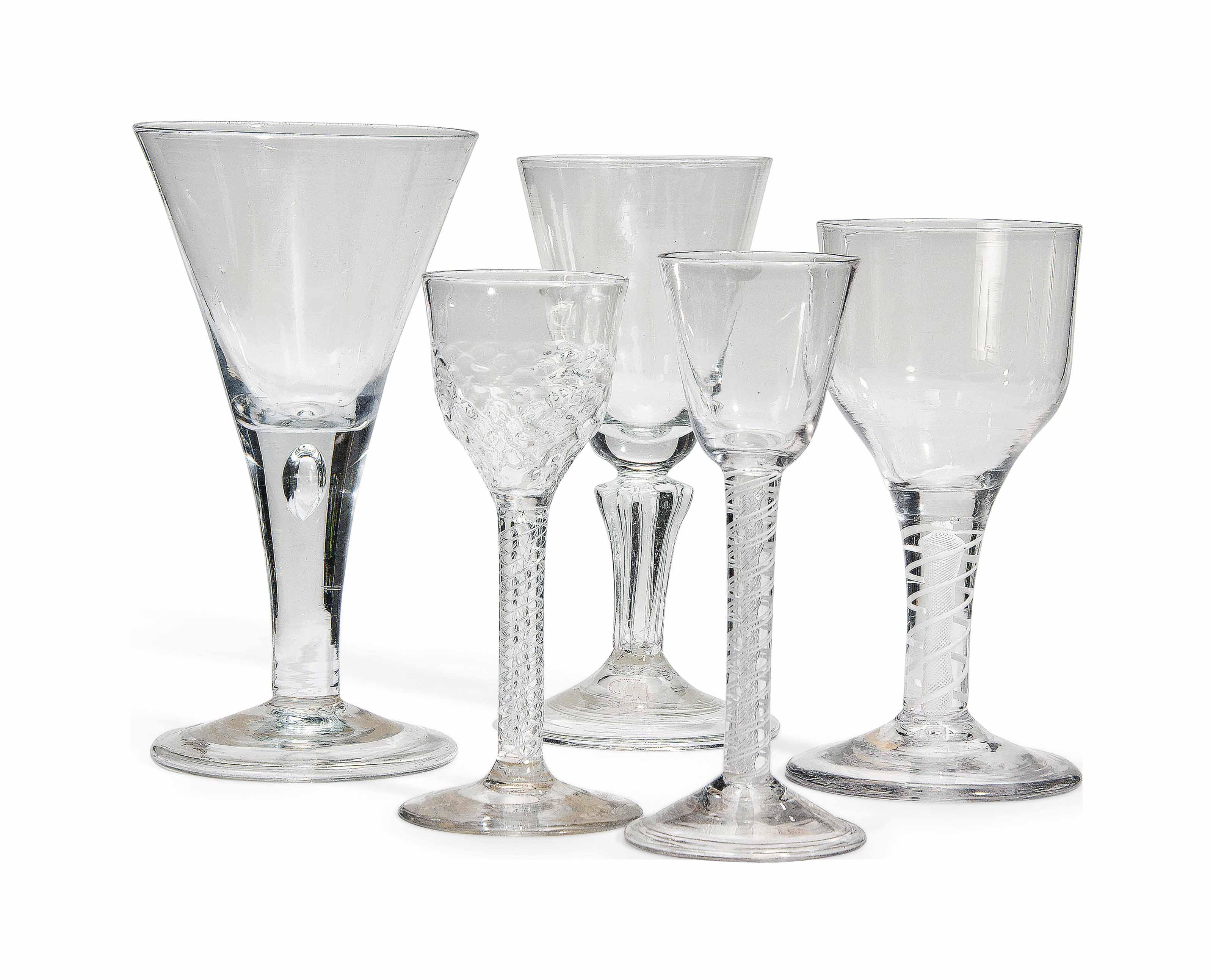 FOUR ENGLISH DRINKING GLASSES