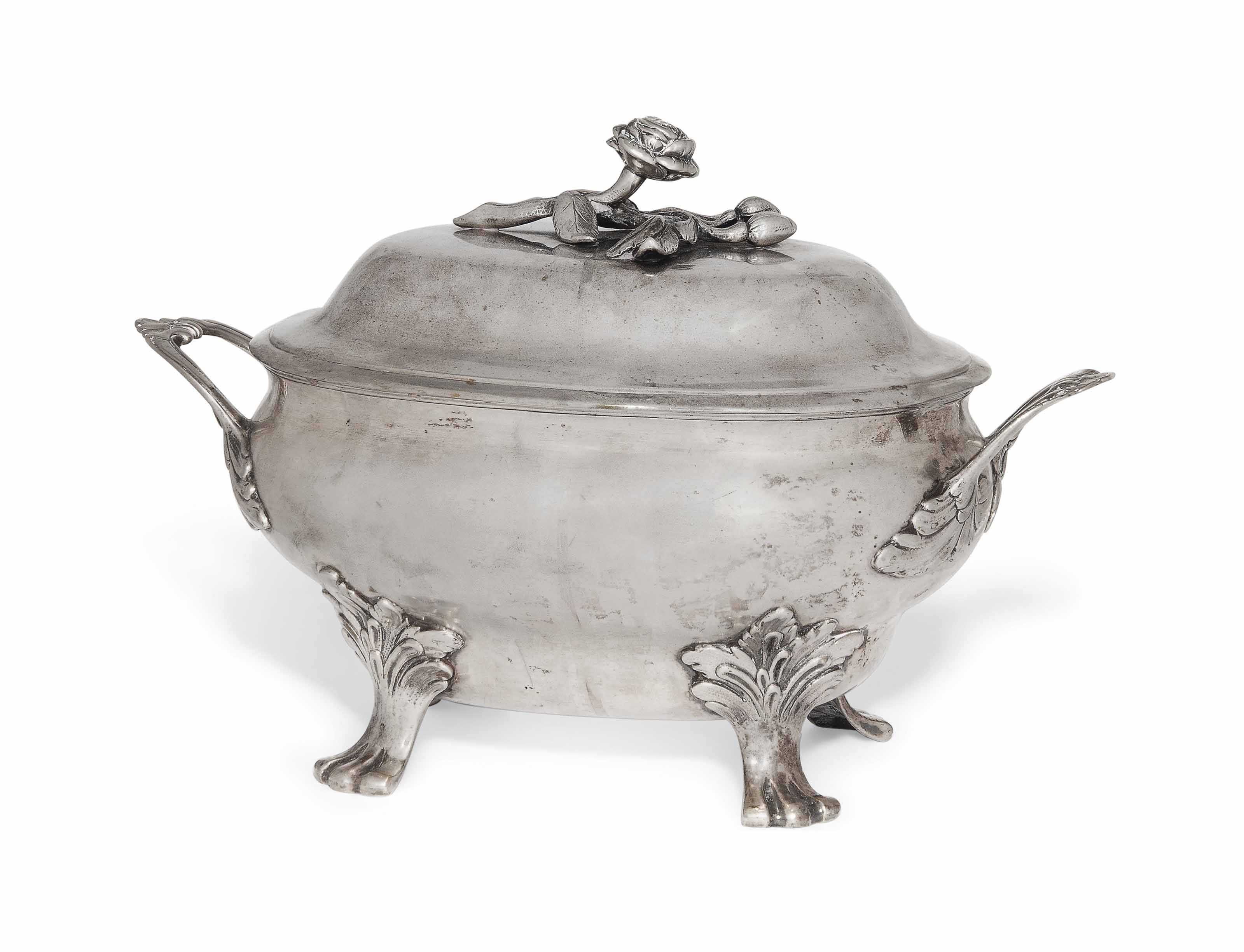 A GERMAN SILVER SOUP TUREEN AN