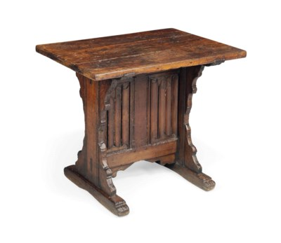 A FRENCH GOTHIC OAK TABLE