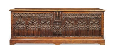 A LARGE FRENCH OAK GOTHIC CHES