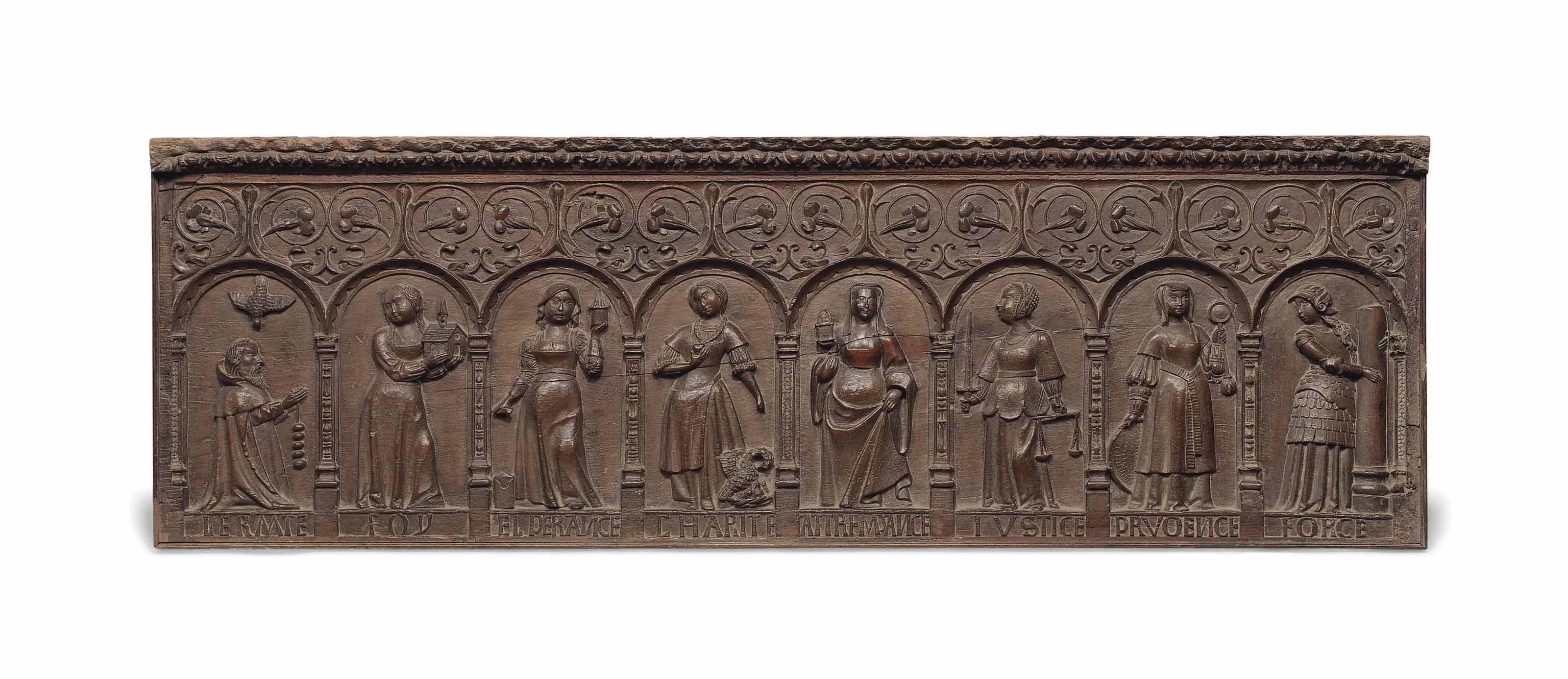 A FRENCH CARVED OAK RELIEF PAN