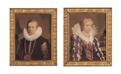 A PAIR OF FLEMISH TAPESTRY POR
