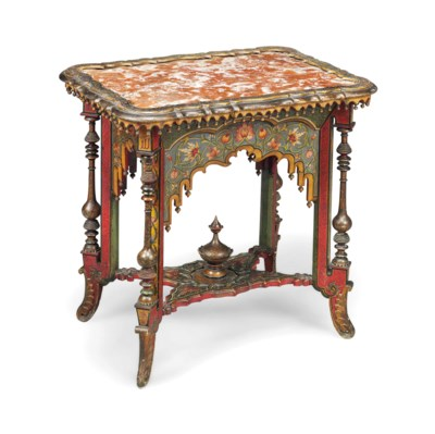A FRENCH POLYCHROME-PAINTED CE