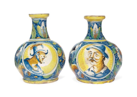 A PAIR OF VENICE MAIOLICA BOTT