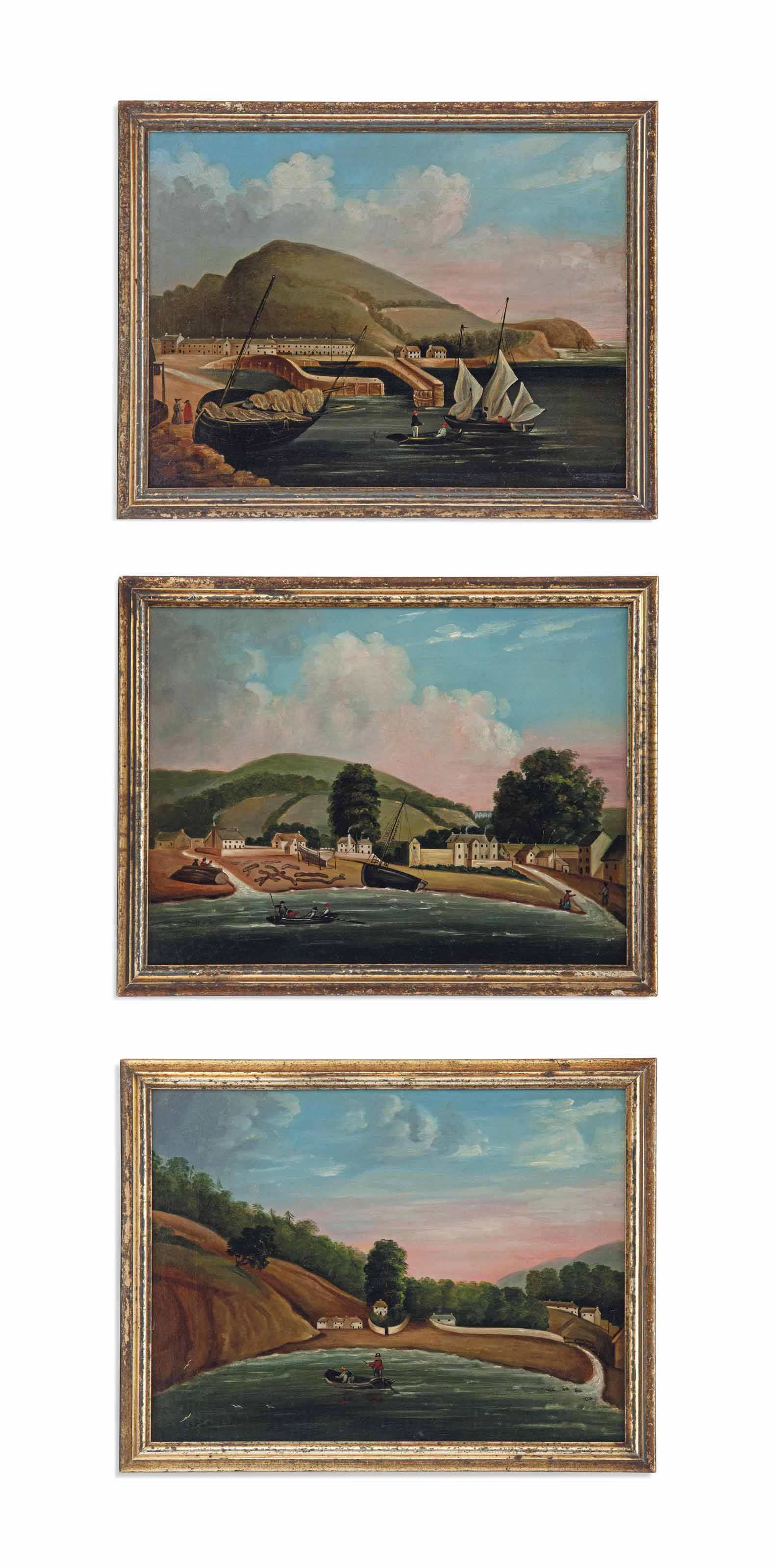 A SET OF THREE OIL PAINTINGS O