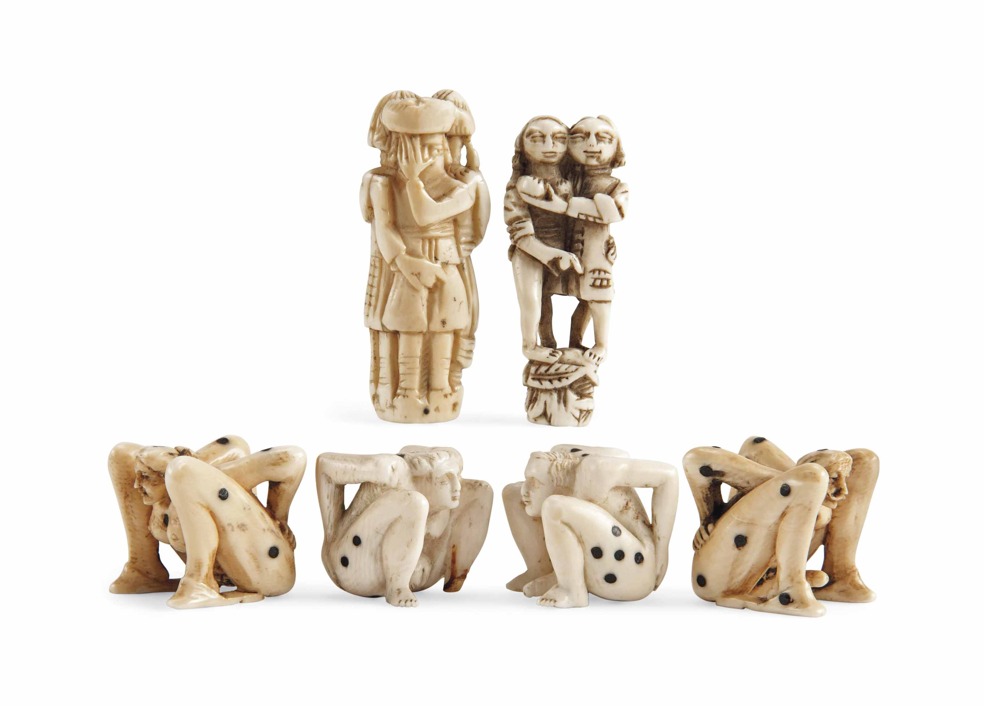 TWO PAIRS OF GERMAN IVORY EROT