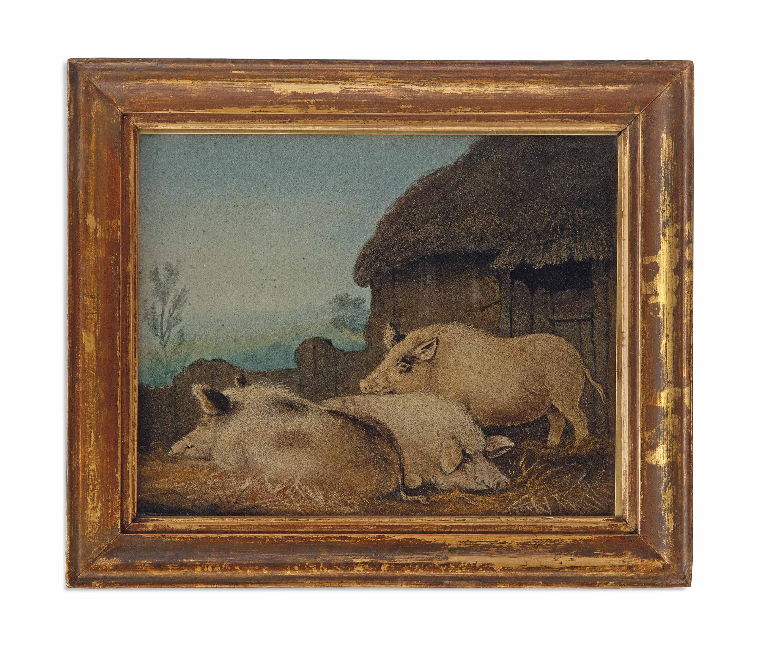 A REGENCY SAND PICTURE OF PIGS