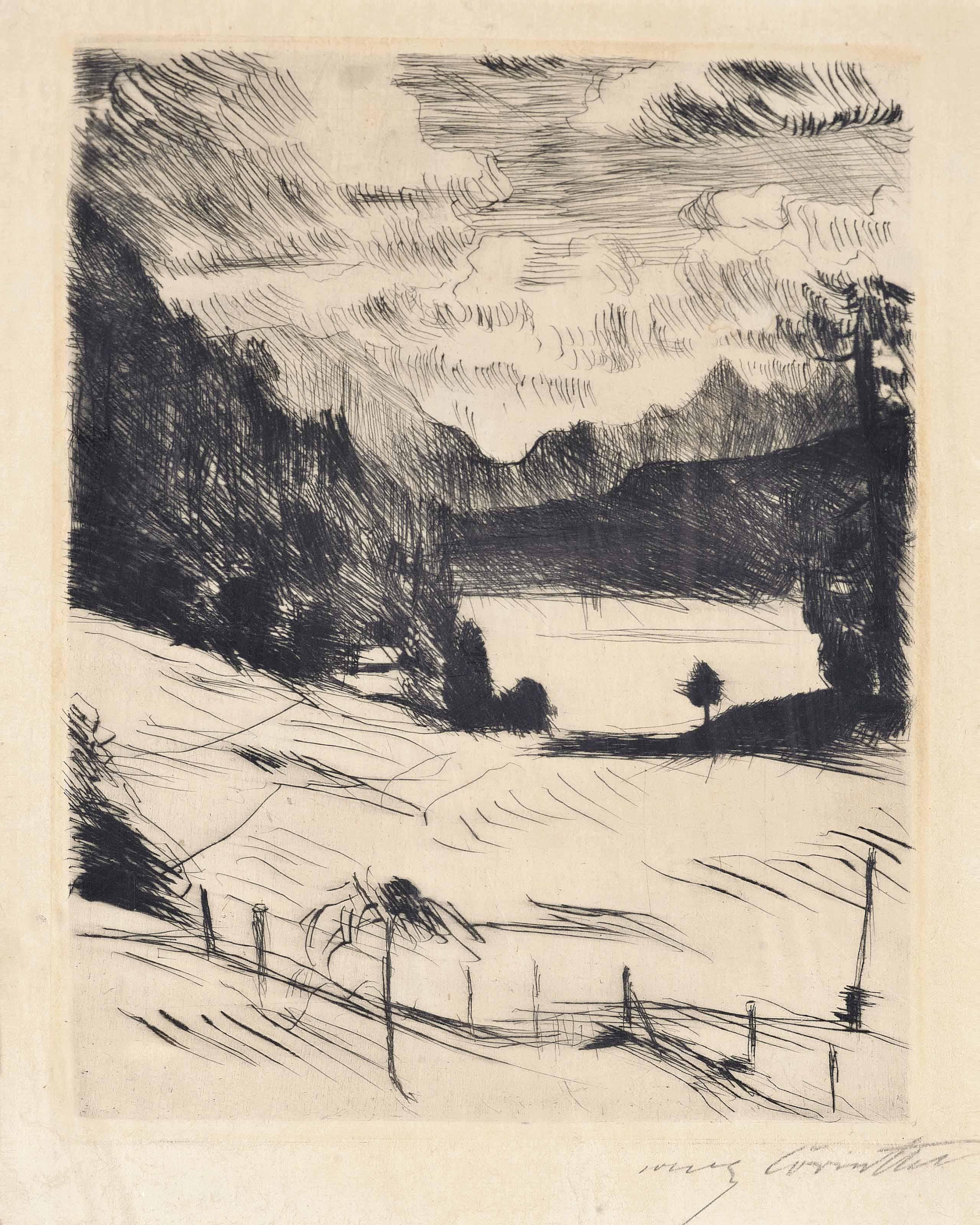 One Plate from: Der Walchensee (Schwarz 432/II)