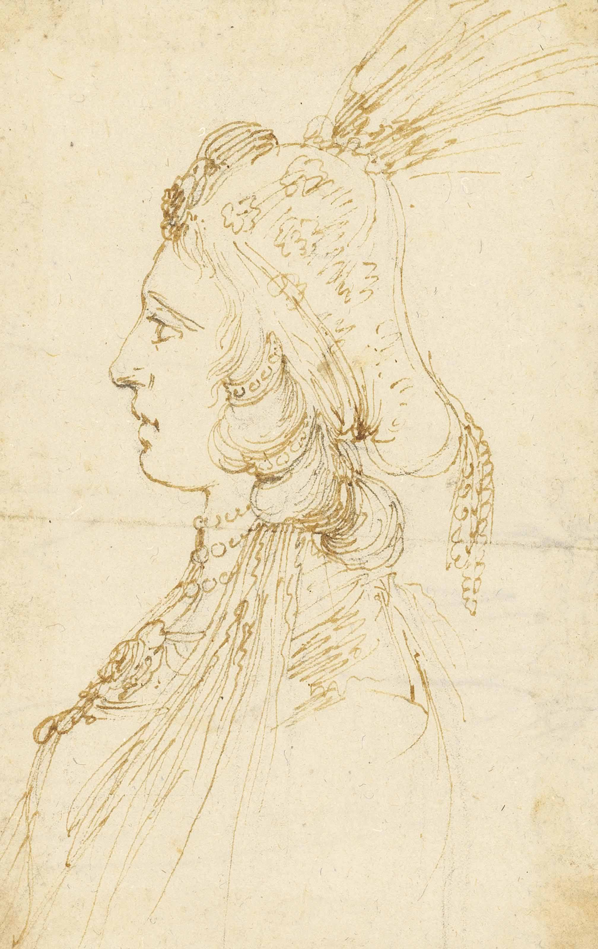 Portrait of a woman in fantastic costume, bust-length, in profile; Portrait of a woman, three-quarter-length, with an elaborate headdress; and Design for a masque costume for a tournament