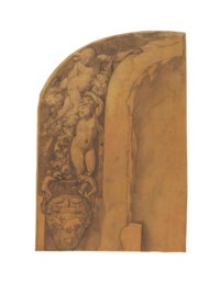 Design for an arched wall decoration: putti with garlands of flowers and a classical urn showing a charging bull