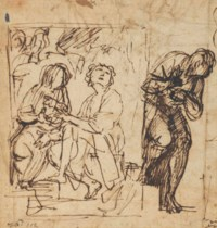The Denial of Saint Peter, with a subsidiary study for the same (recto); Further studies for the same composition (verso)