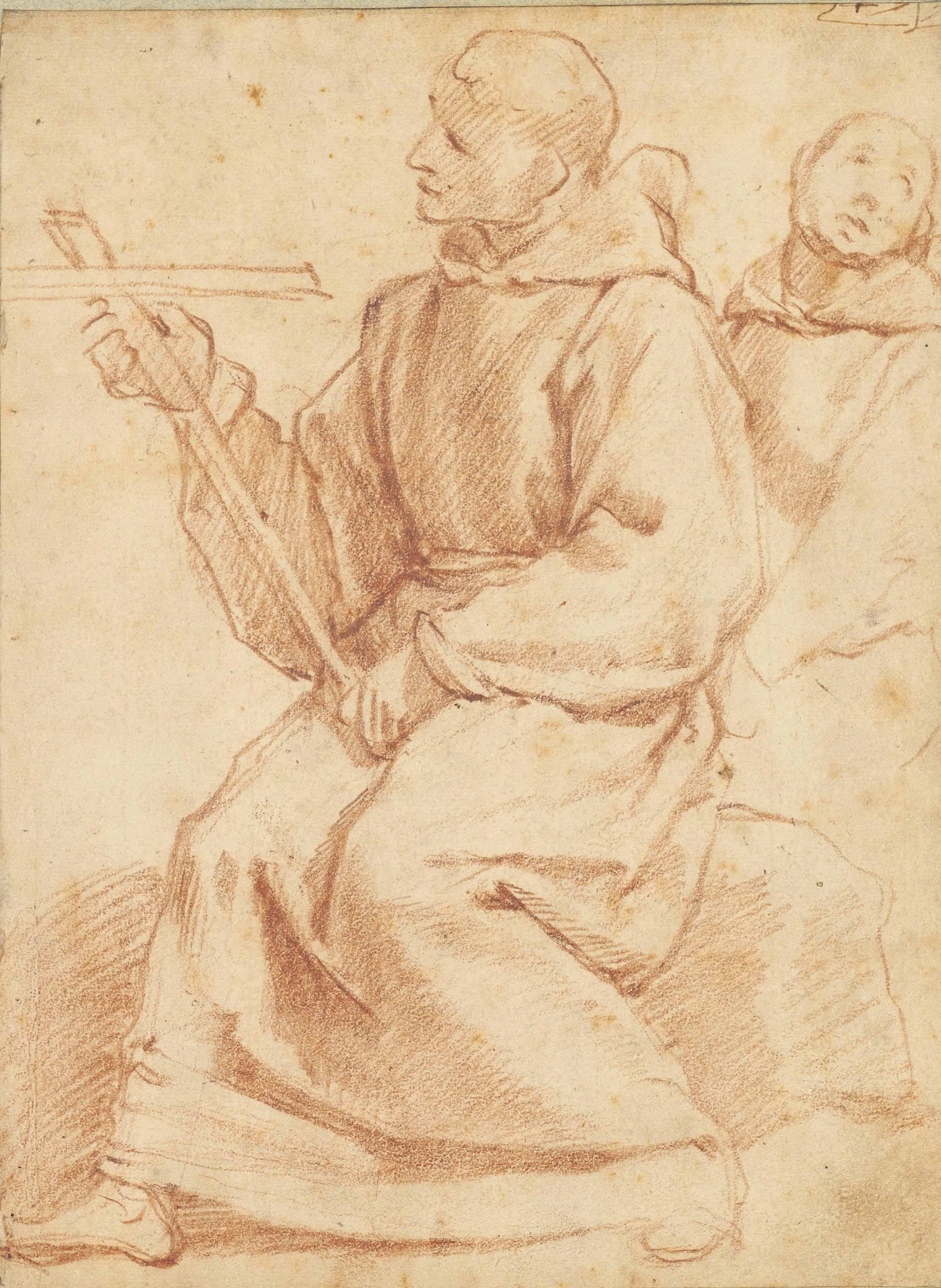 Two mendicant friars with a crucifix
