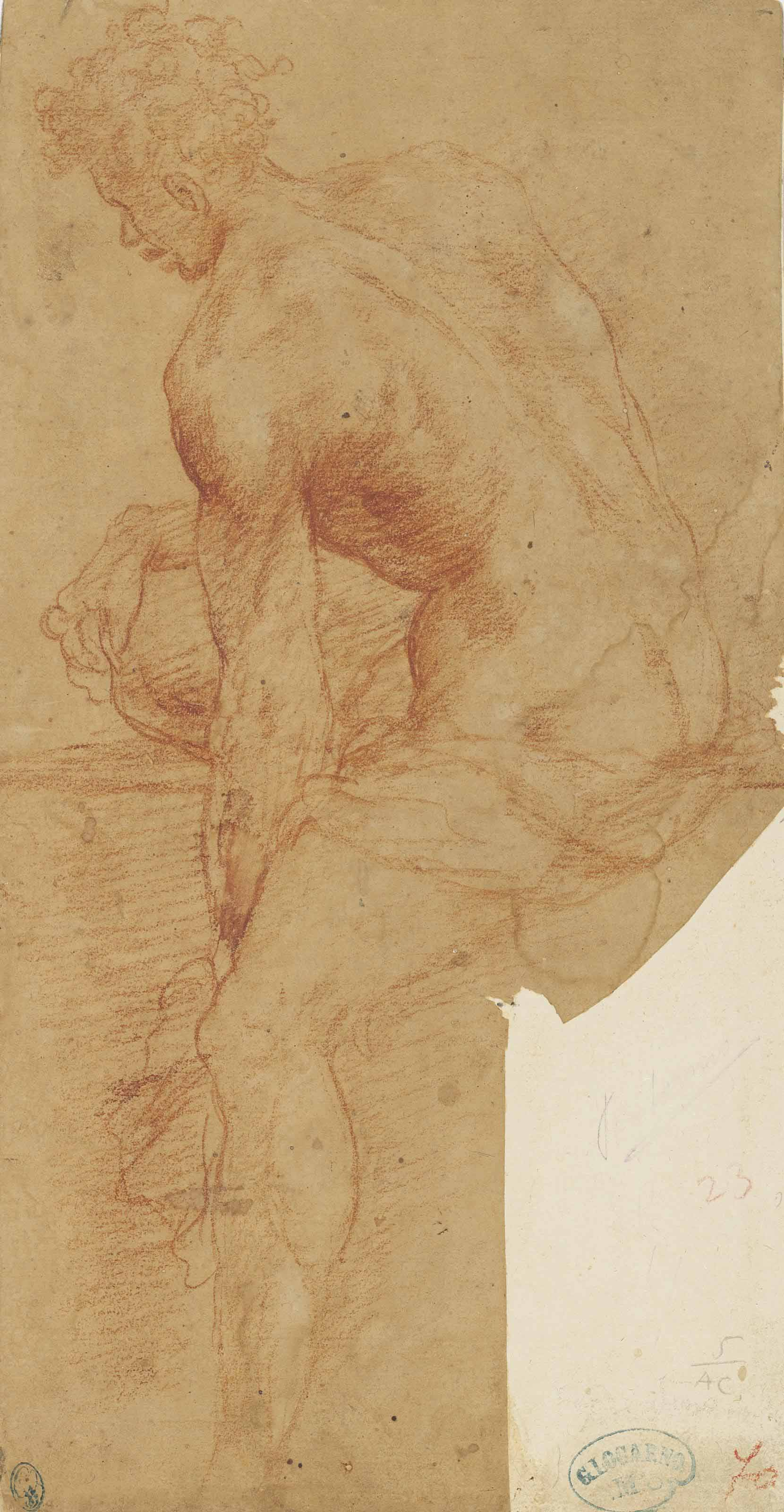 A seated male nude, seen from the side