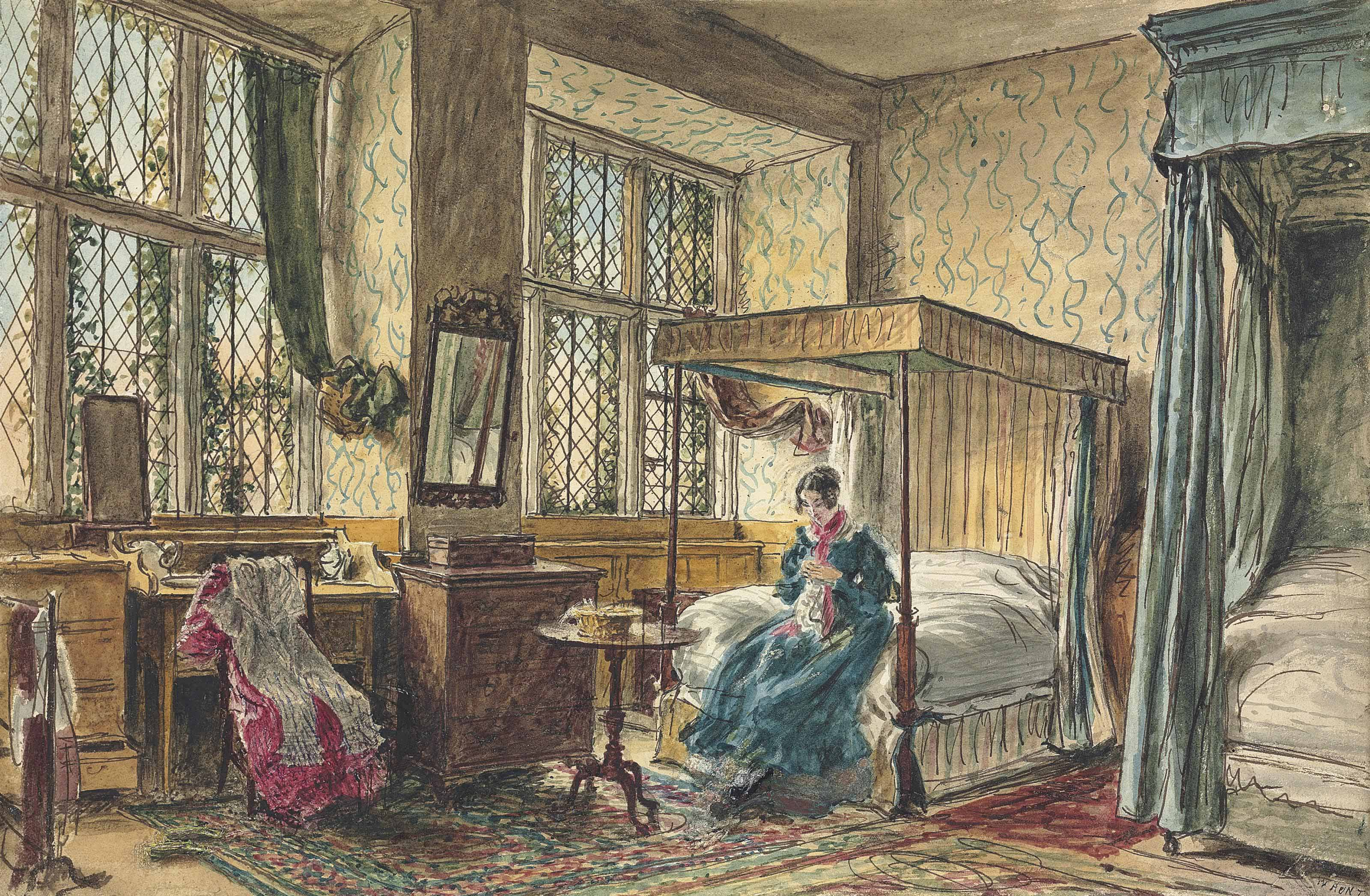 Miss Moore sewing in her bedroom, Hardwick Hall, Derbyshire