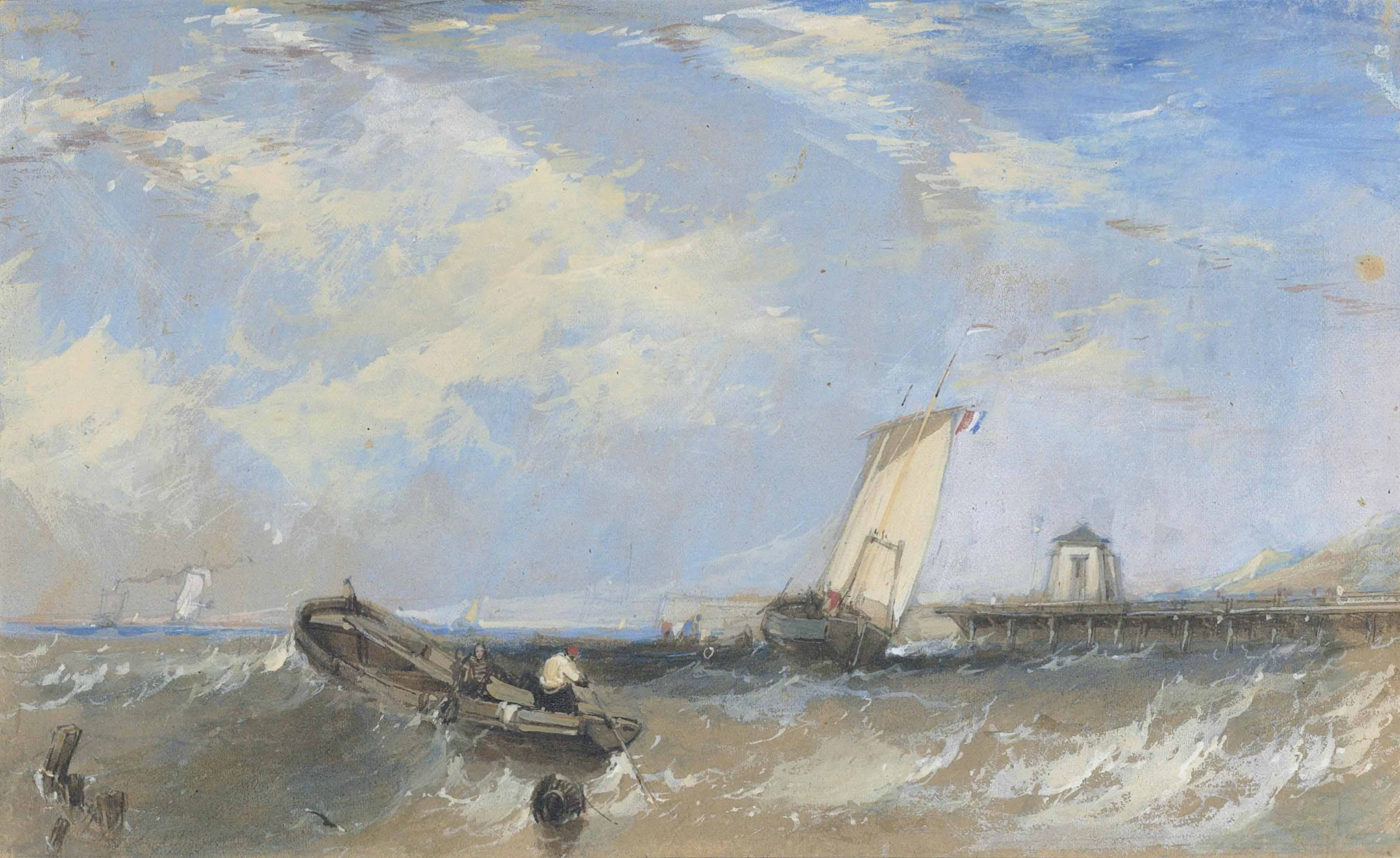 Shipping on a rough sea with a harbour in the background
