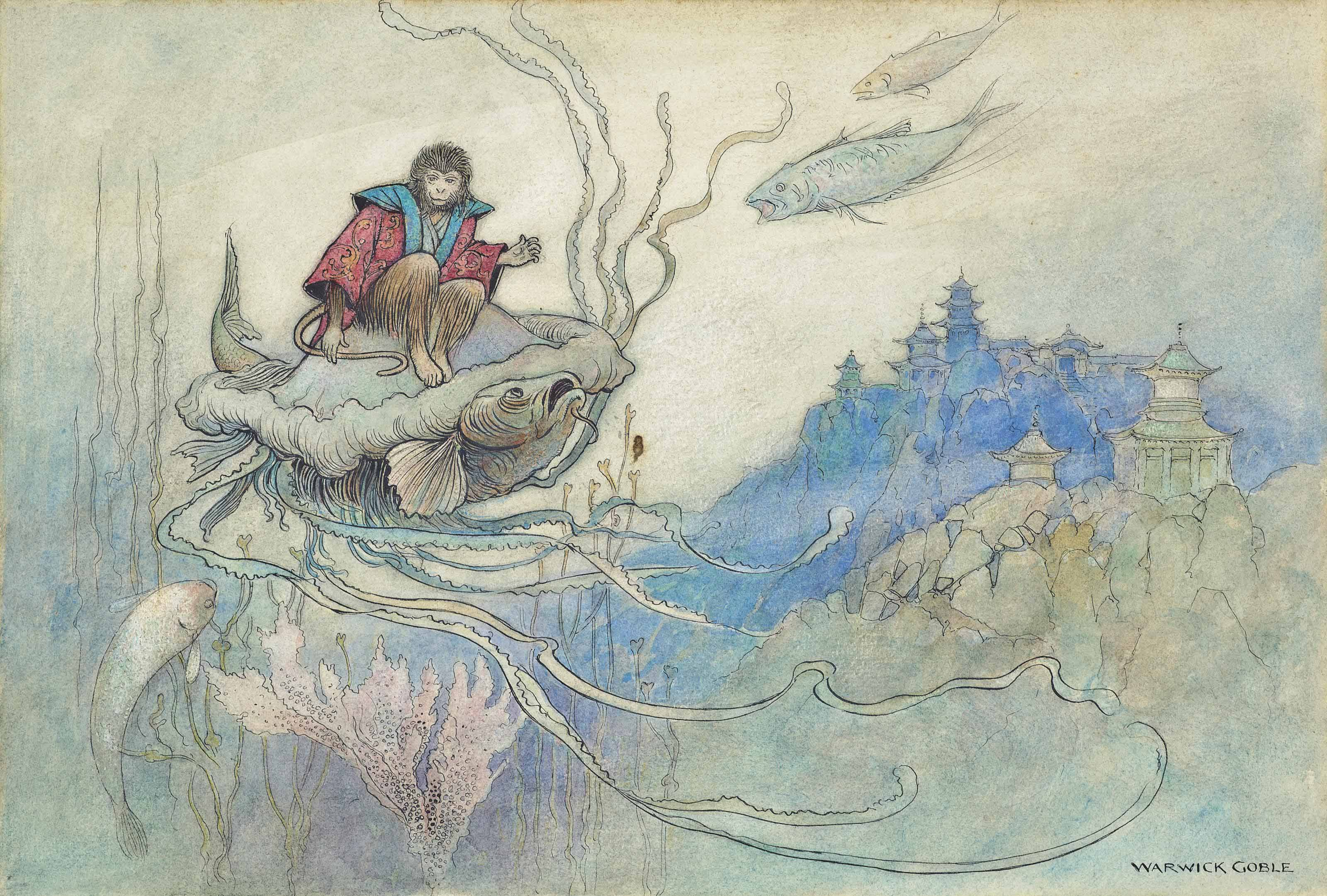 The jelly fish takes a journey; An illustration for 'The Green Willow and other Japanese Fairy Tales'.