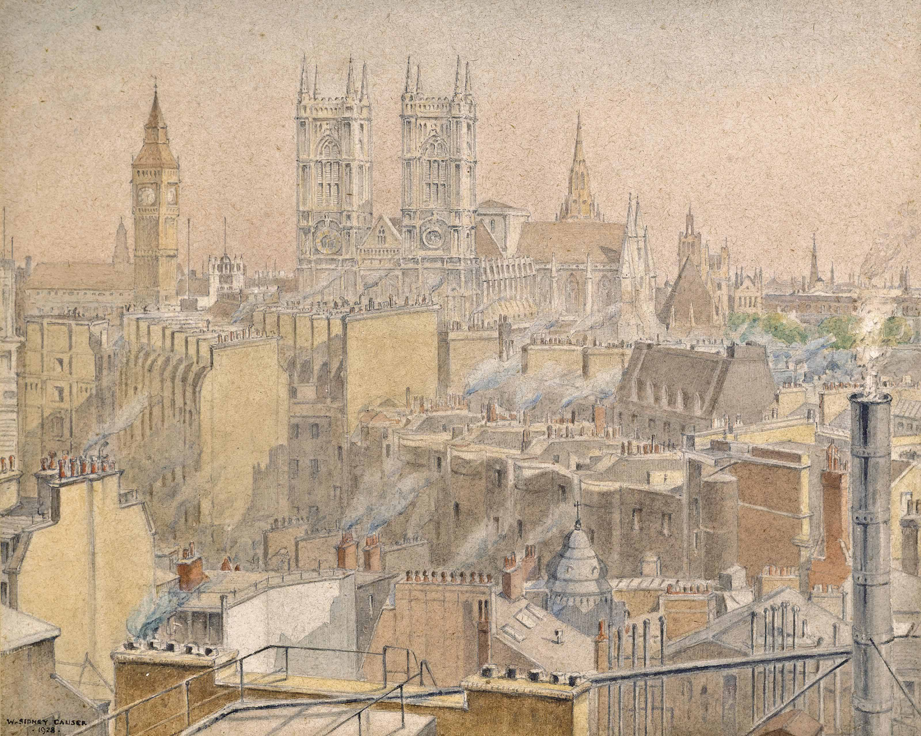 View of Kensington and the Royal Albert Hall on a spring evening; View of Westminster Cathedral (illustrated); and View across Westminster from Broadway Courts