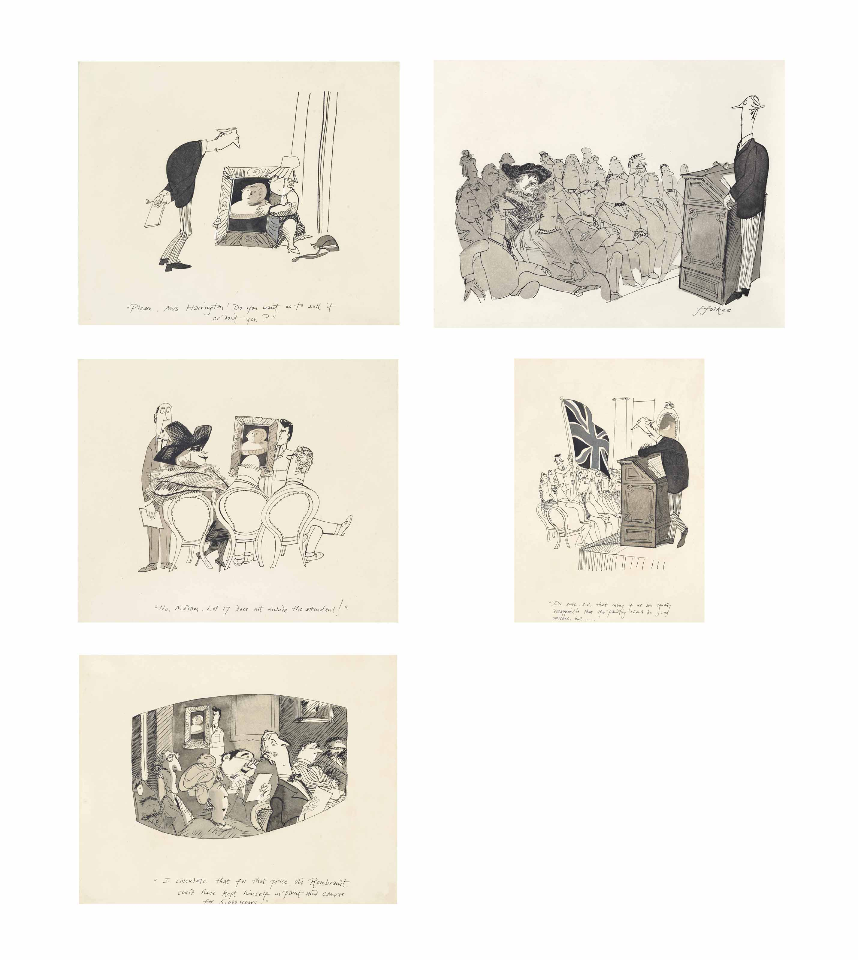 The auction, a group of five cartoons (all illustrated)