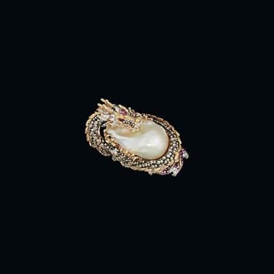 A cultured pearl and gem-set d