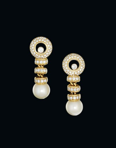 A pair of 18ct gold, cultured