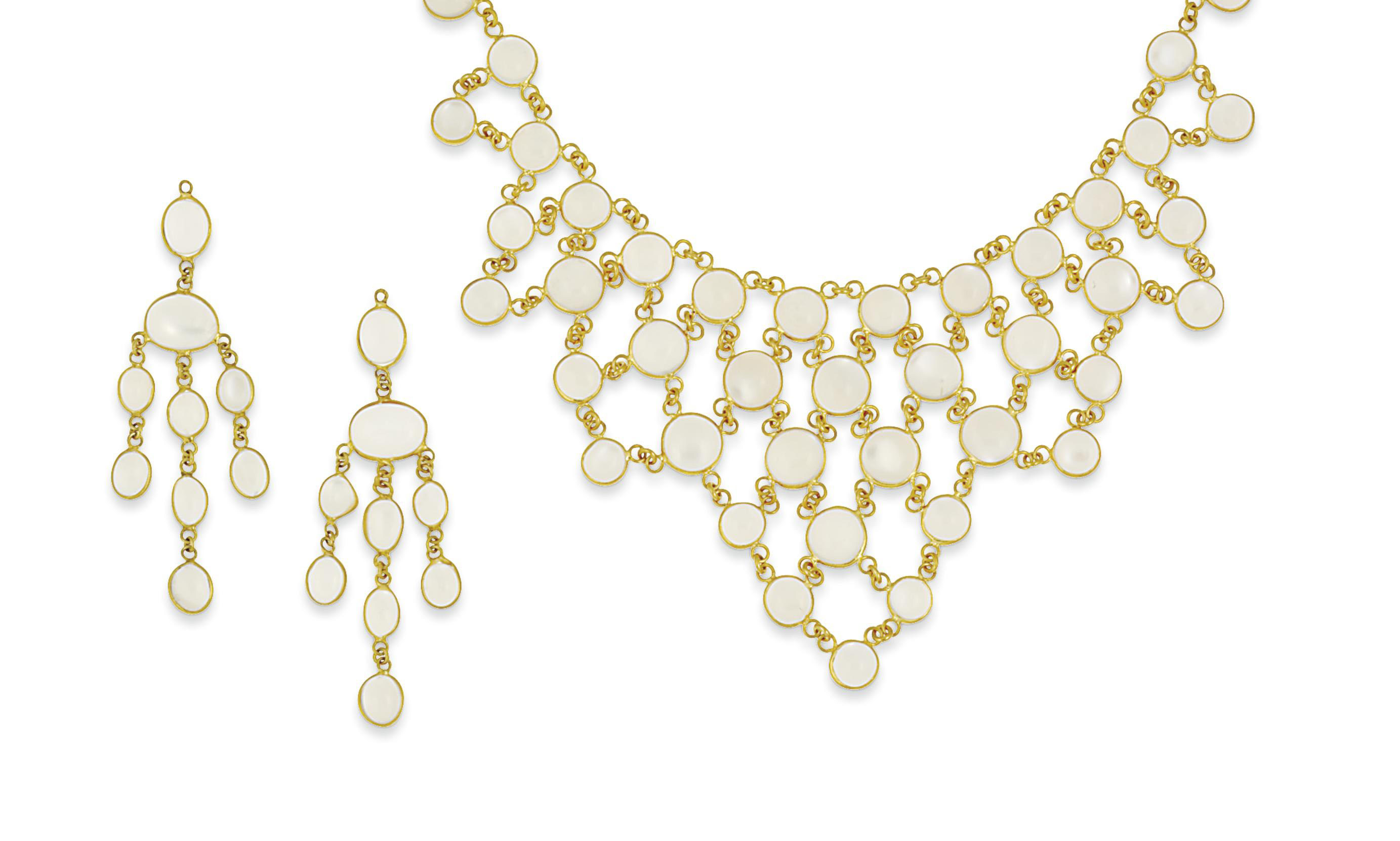 An 18ct gold, moonstone neckla