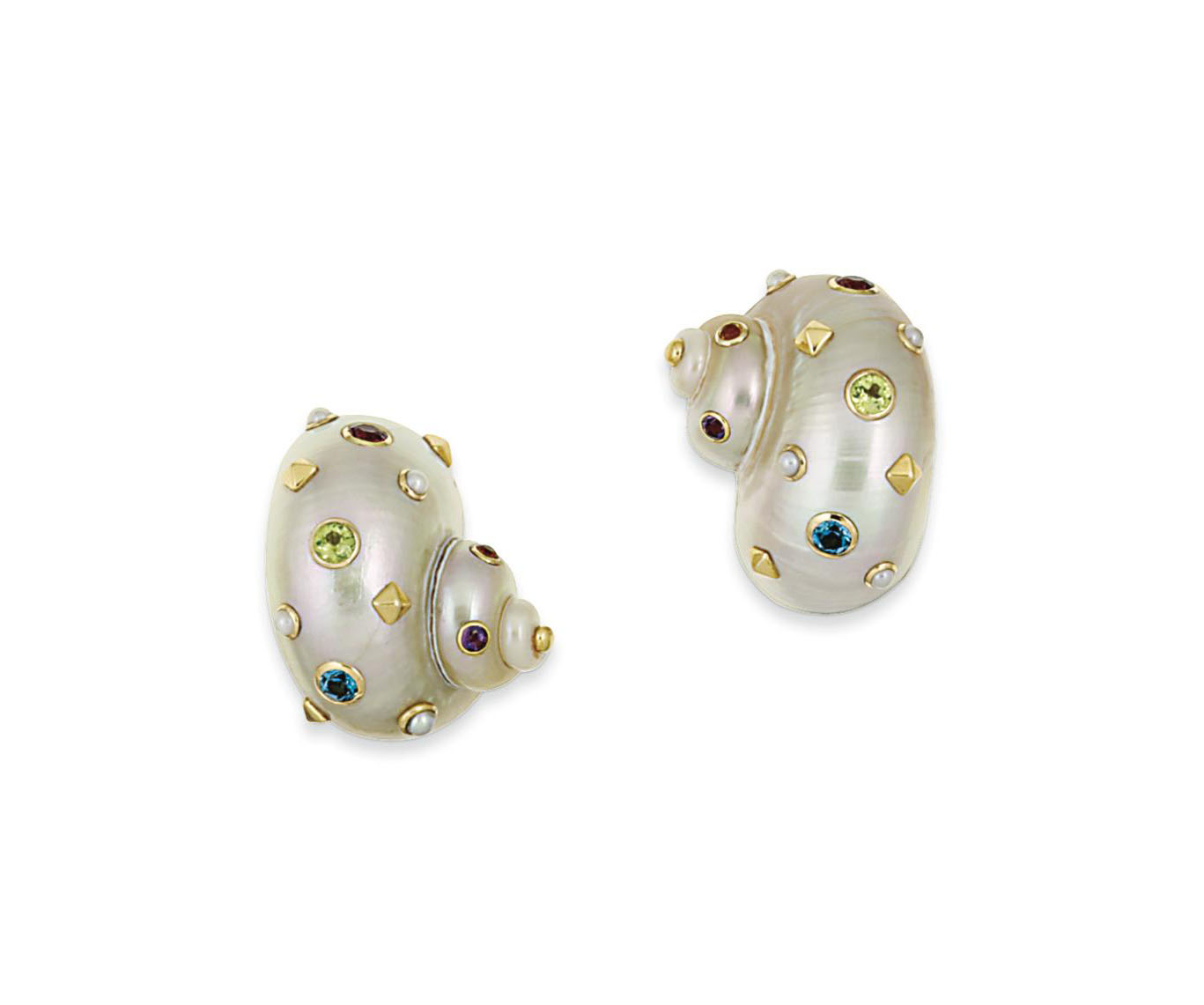 A pair of shell and gem earrings, by Trianon