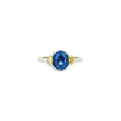 A sapphire  and yellow diamond