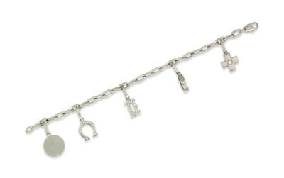 A diamond-set charm bracelet,