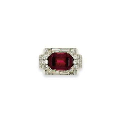 An Art Deco gold, tourmaline a