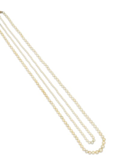 Two natural pearl necklaces