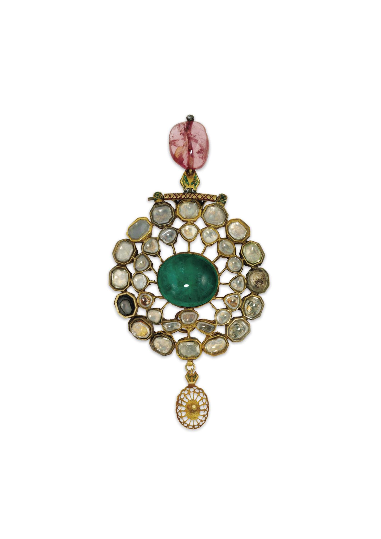An Indian emerald, diamond tou