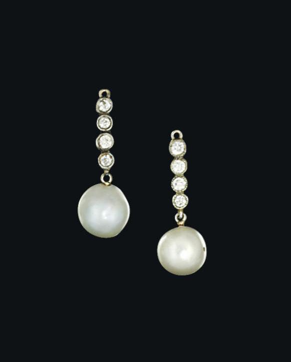 A natural pearl and diamond pe
