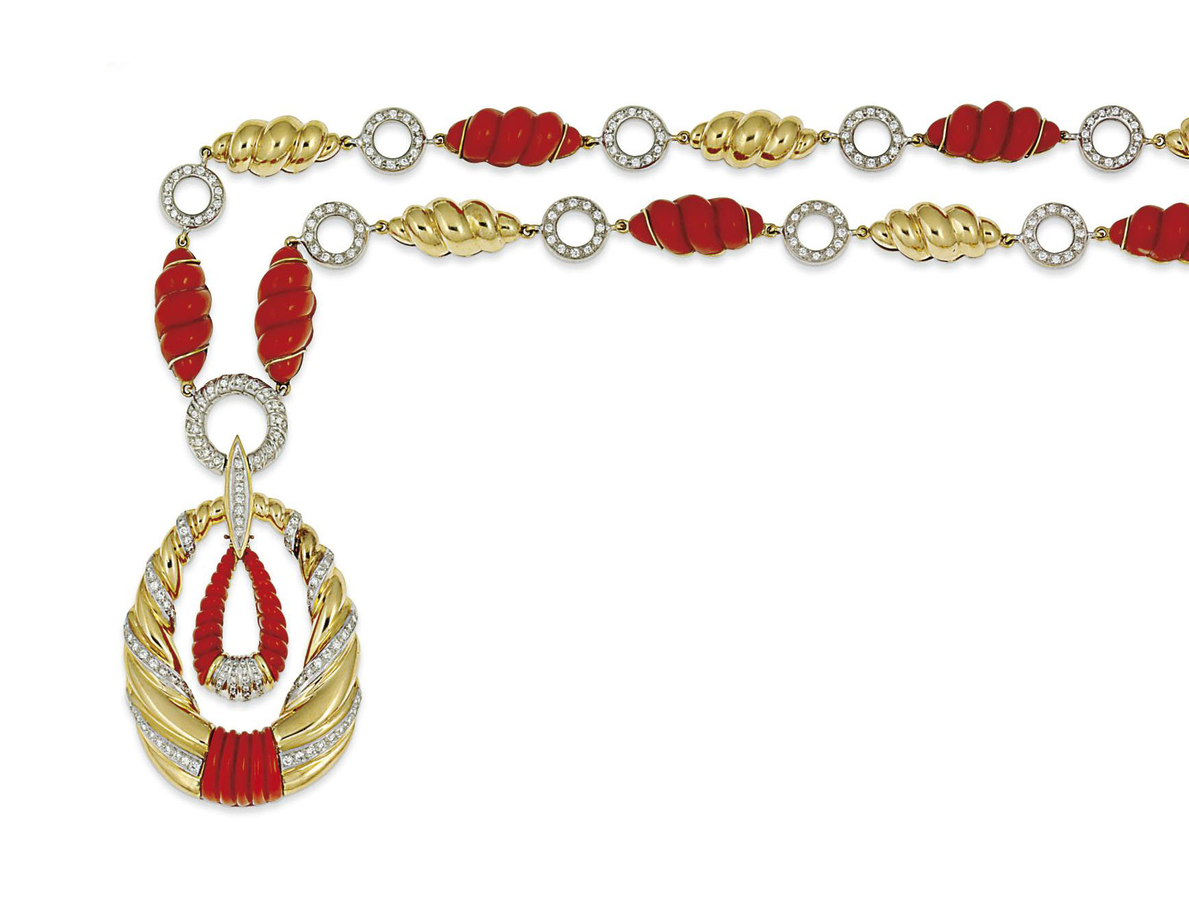 A coral and diamond-set pendan