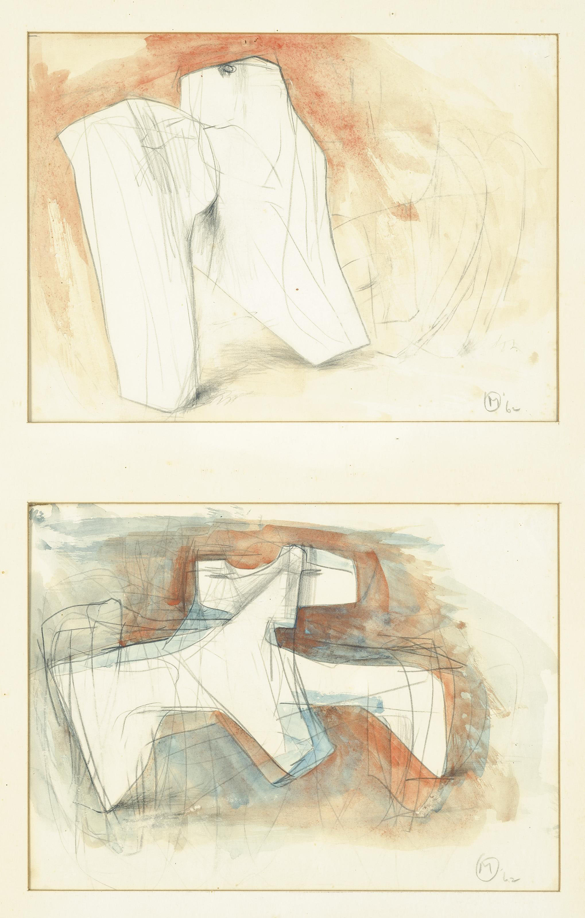 Two drawings for 'Head and shoulders of Augustus', framed together