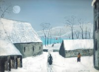 Village scene in winter