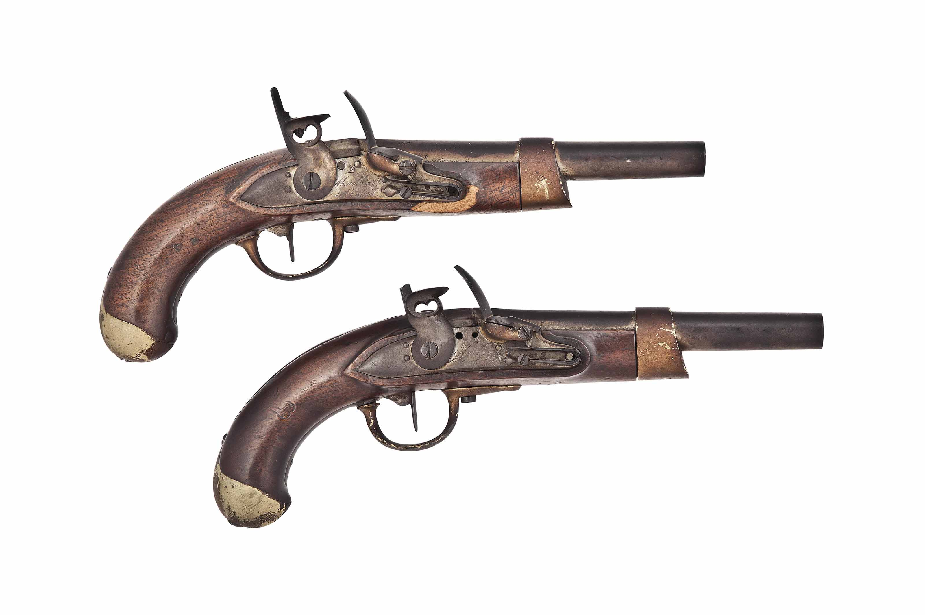 TWO FRENCH FIRST EMPIRE 17mm MODEL 'AN.13' FLINTLOCK SERVICE PISTOLS