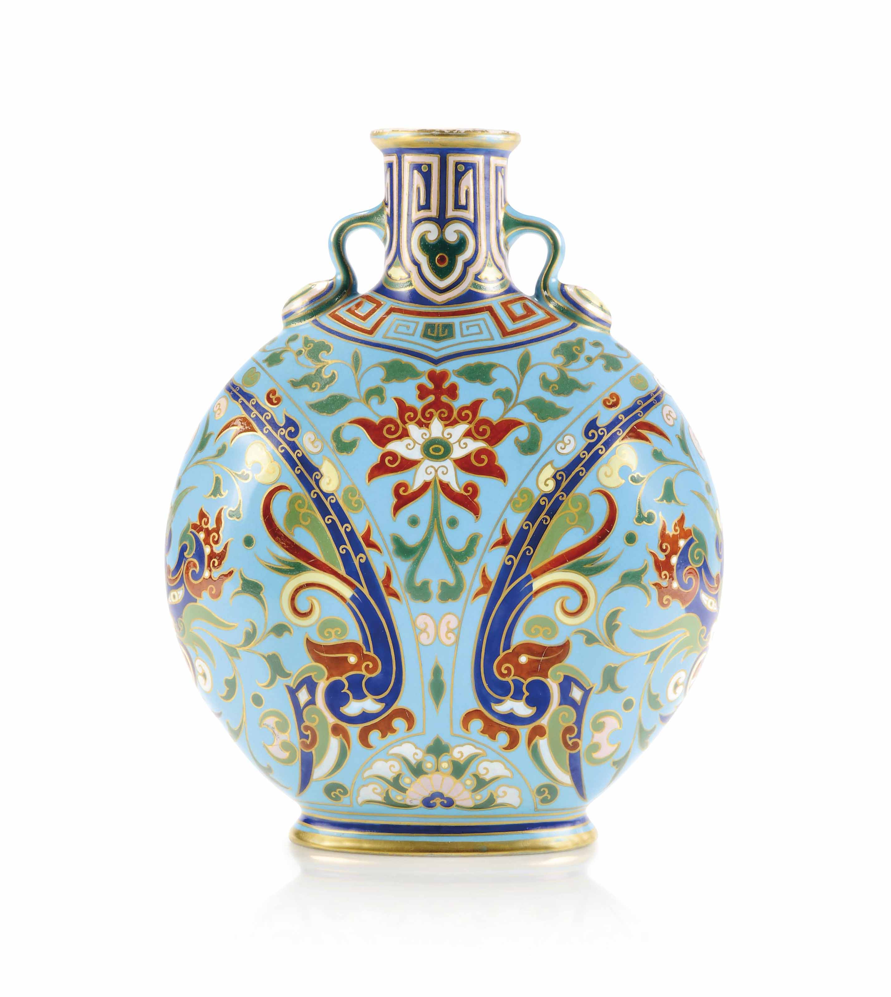 A Minton cloisonné porcelain vase with decoration designed by Dr. Christopher Dresser, 1867. 10⅛ in (26.5 cm) high. Sold for £4,375 on 30 January 2013 at Christie's in London